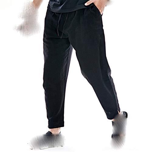 STAZSX Apparel Pantalones de algodón y Lino de Verano Sueltos más Fertilizantes para Aumentar los Pantalones de Lino Pantalones Casuales Negro Negro