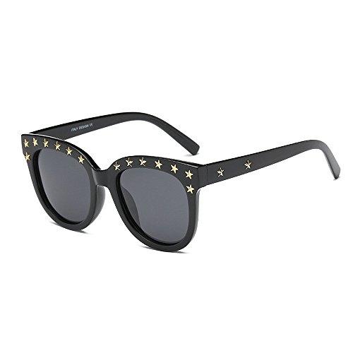 sol Rivet conducir Classic Gafas Para para sol Viajar irrompible polarizadas Retro Eyewear Marco con Lady's mujer Hombre de negro Gafas Gaf sol UV Unisex de de Personalidad Protección Negro Gafas borde Star 6qw1xgE