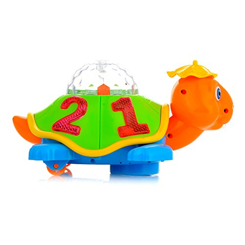 Toysery Light Up Turtle Toy with Lights and Sound for Baby and Toddler Battery Operated
