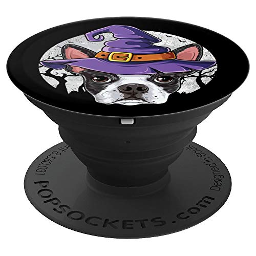 Cute Boston Terrier Witch Funny Black Halloween Dog Animal - PopSockets Grip and Stand for Phones and -