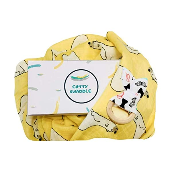 Cotty Swaddle Blanket Bamboo & Cotton Muslin, 47×47 inches, wrap for Babies Unisex + Natural Wooden Teether Rings as a Gift