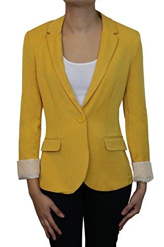 Instar Mode Women's Cuffed Sleeve One Button Boyfriend Blazer GOLD M