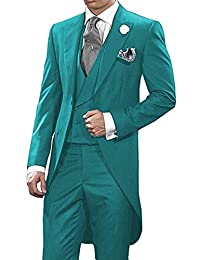 HUIBAOGONG 3 Piece Wedding Men's Tailcoat Suits Set Tuxedo Blazers for Prom Party Dinner