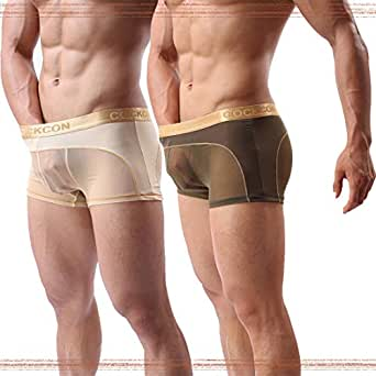 """Sheii Mens Boxer Briefs Soft Mesh Breathable Underpants Men's Sexy Underwear Cool Design See-Through Trunks Pack - - US XS(Waist:27""""-29""""),Tag M"""