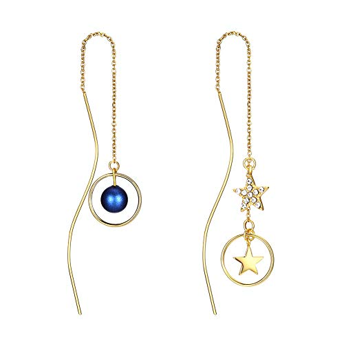 MABELLA 18K Real Gold Plated Embellished with Crystals from Swarovski Star Long Bar Threader Dangle Drop Hypoallergenic 925 Stering Silver Earrings,Gifts for Girls Sensitive Ear