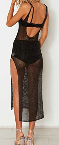 Through Slit Spaghetti Sexy Black Womens Dress See Cruiize Strap Beach xEwqOISn