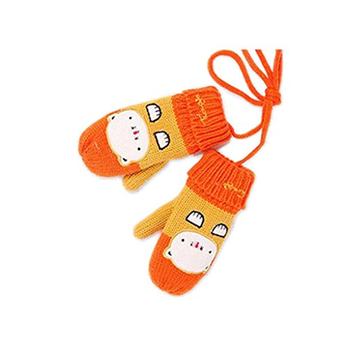 Valuable Girls Mittens,Dealzip Inc Unisex Boys and Girls Plush Wool Thick Warm Winter Gloves Cute Cat Designed Orange for Christmas -