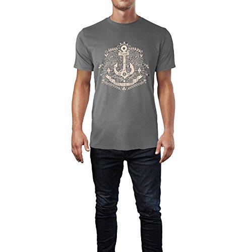 SINUS ART® Kultiger Anker mit Born To Be Free Aufschrift Herren T-Shirts in Grau Charocoal Fun Shirt mit tollen Aufdruck