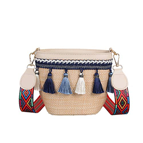 Messenger Bags for Women Thenlian Vintage Beach Straw Bag Ethnic Ribbon Tassel Beach Bag Bag Crossbody Bag(Free, White)