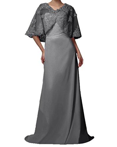 Brautmutterkleider Abendkleider Spitze Chiffon Lang Jaket Grau Partykleider Charmant Ballkleider mit Damen Kurzarm BfqUnfSwT