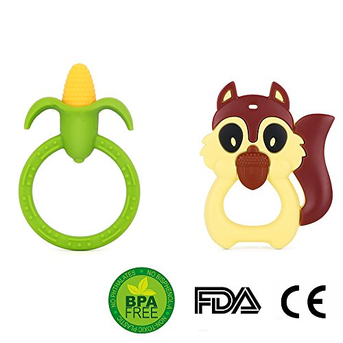 Baby Infant Silicone Training Teether Toys BPA Free(Corn and Squirrel Shaped) (Corn Cob Shape)