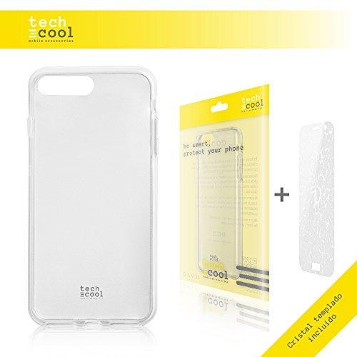 Iphone 7 Plus Hülle, Funnytech® SchutzHülle premium Soft Flex TPU Silikon Transparent für Iphone 7 Plus + Panzerglas Schutzfolie 9H l Case, Cover, Handy [Ultra Dünn 1,5mm] (Klar)