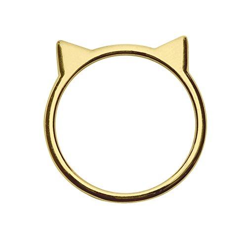 Cat Ear Ring in 18k Gold-plated Sterling Silver (Size 4) by Silver Phantom (18k Cat Earrings)