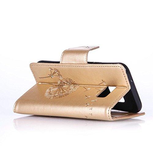Uming® Patrón Especial de la serie de impresión colorida caja de la PU de la pistolera Caso Holster case ( Diamond Embossing Dandelion Black - para Huawei Ascend P9 ) de cuero artificial del tirón con Diamond Embossing Dandelion Gold