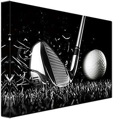 Amazon Com 1 Piece Canvas Print Black And White Poster Wall Art Picture Golf Ball Sport Canvas Painting For Gym Living Room Wall Decor Frame Canvas 12x16inch Posters Prints