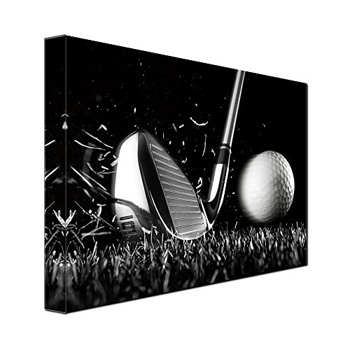 gold mi 1 Piece Canvas Print Black and White Poster Wall Art Picture Golf Ball Sport Canvas Painting for Gym Living Room Wall Decor Frame Canvas (12x16inch) ()