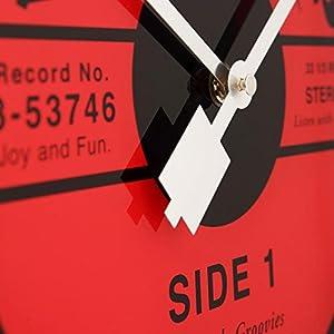 """NeXtime Reloj de pared  """"VINYL TAP"""", diseño disco de vinilo, de vidrio, negro y rojo, redondo, ø 43 cm 3"""