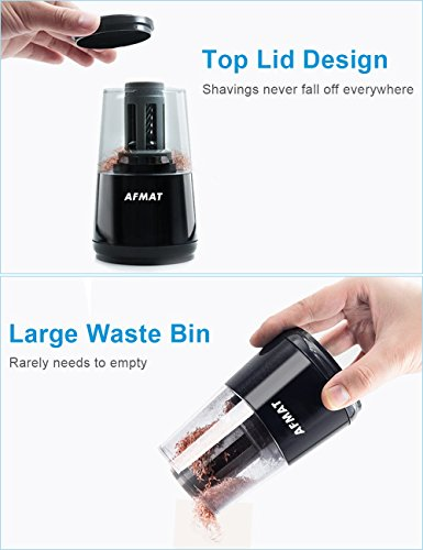 AFMAT Electric Pencil Sharpener, Heavy Duty Helical Blade Sharpeners, Auto Stop for Kids, School Home Office Classroom, AC or Battery Operated for NO. 2 and Colored Pencils (USB and Adapter Included) by AFMAT (Image #5)