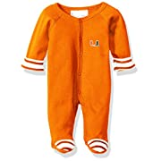 Two Feet Ahead NCAA Miami Hurricanes Infant Stripe Footed Creeper, New Born, Orange