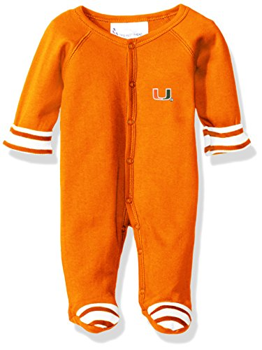 - Two Feet Ahead NCAA Miami Hurricanes Infant Stripe Footed Creeper, New Born, Orange