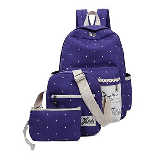 Minetom Backpack Mochilas Escolares Mochila Escolar Casual Bolsa Viaje 3 Piezas Embrague Bolsa De Mensajero Lona morado