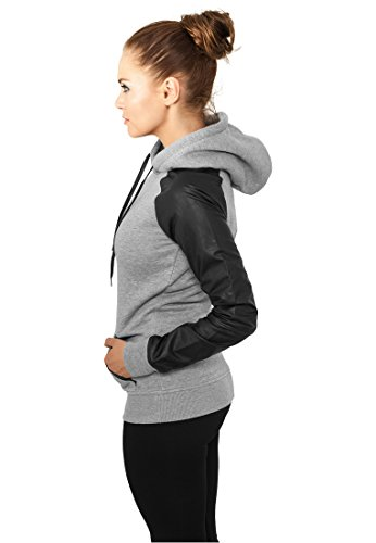 Donna Black Felpa Hoody Grey Tb800 Leather Classics Fit Regular Raglan Urban Imitation Taglia S Ladies 6wZW4qxTv