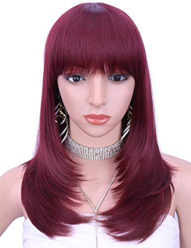 Kalyss Women's Wig Long Straight natural Layers Burgundy red Synthetic Hair wigs for - Wig Layers Bangs Synthetic