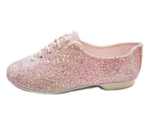Glitter Rubber Classic Jazz Hologram Glitter shoe Foil Pink and sole qzrdq