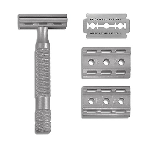 Rockwell Razors 6S Stainless Steel Adjustable Double Edge Safety Razor + 5 Swedish Stainless Steel Razor Blades ()