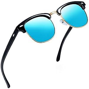 Joopin Semi Rimless Polarized Sunglasses Women Men Brand Vintage Glasses Plaroid Lens Sun Glasses (Blue Mirror Lens)