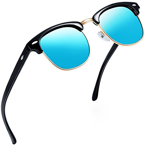 Joopin Semi Rimless Polarized Sunglasses Women Men Brand Vintage Glasses Plaroid Lens Sun Glasses (Blue Mirror (Clubmaster Style Sunglasses)