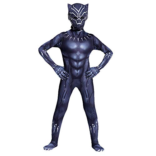 JianYia The Black Panther Kids Bodysuit Superhero Costumes Unisex Lycra Spandex Halloween Cosplay Costumes (Black, ()