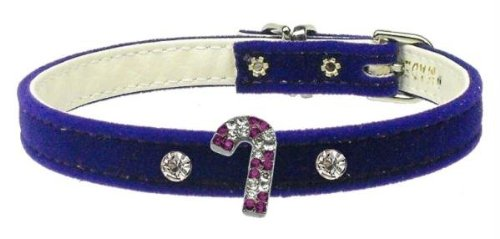 Mirage Pet Products Purple Candy Cane Charm Collar for Dogs, 10-Inch, Purple Velvet