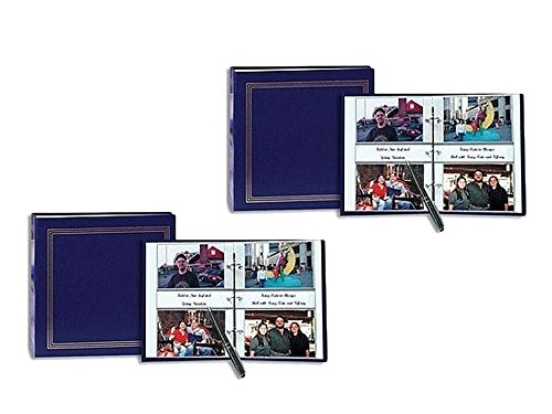 Set of 2 Pioneer 3-ring 2-up slip-in pocket NAVY-BLUE binder album for 400 photos - 4x6 bundled by Maven Gifts by Pioneer Photo Albums