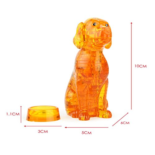 Original 3D Crystal Puzzle - Cute Dog Model DIY Gadget Blocks Building Toy Gift (Orange) (3d Dog Model)