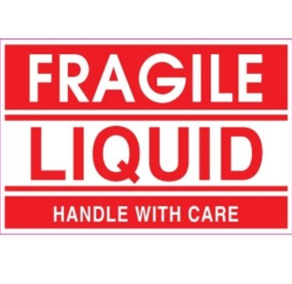 Adhesive Label Preprinted Fragile Liquid Shipping Label, 2 x 3 Inches, Red, Roll of 500 (23007F) (Liquid Fragile)