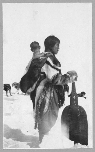 Photo: Netselingmeut Eskimo Woman,Snow Shovel,Child,Boothia