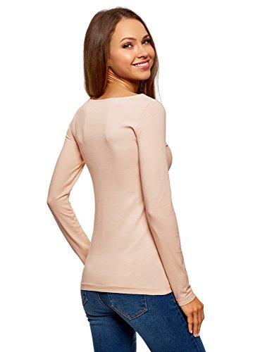 Shirt Maniche oodji Beige Donna T Collection Senza 3319p Lunghe con Etichetta XPwPrtqx