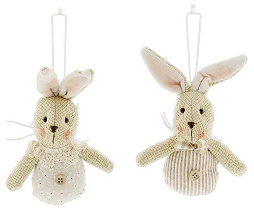 Transpac Primitive Plush Bunny Ornaments, Set of 2 Assorted -