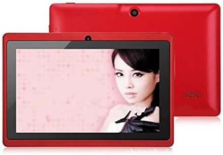 7'' Inch A33 Quad Core Google Android 4.4 Tablet Pc Mid, Dual Camera, 1024x600 Capacitive Multi-touch Screen Red Color