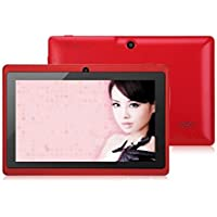 7 Inch A33 Quad Core Google Android 4.4 Tablet Pc Mid, Dual Camera, 1024x600 Capacitive Multi-touch Screen Red Color