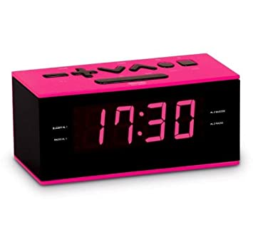RADIO REVEIL DOUBLE ALARME ROSE ET NOIR  Amazon.fr  TV   Vidéo cb9735b2f5a2