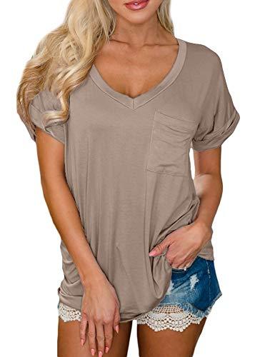 (For G and PL Women's Basic Cotton V Neck Tops Summer Short Sleeve Loose Fit Pocket Casual Plain T Shirt Khaki L )