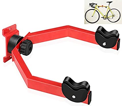 Hasit Wall Mount Bike Hanger Rack Horizontal Bike Holder Hook for Garage/Indoor Storage 360° Adjustable Angle to Keep Your Bike Level to Ground Red