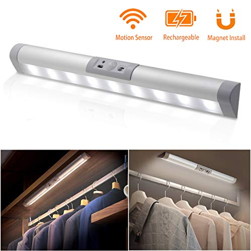MYPLUS Closet Light, Rechargeable Motion Sensor LED with Eye-Protection Design and Wireless Magnet Install Anywhere Automatic ON/Off for Wardrobe,Stairs,Cabinet etc.