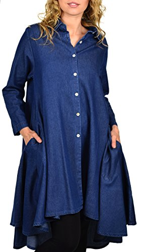 - Dare2BStylish Hi Low Button Down A Line Swing Dress Shirt Top, Denim Blue, Large
