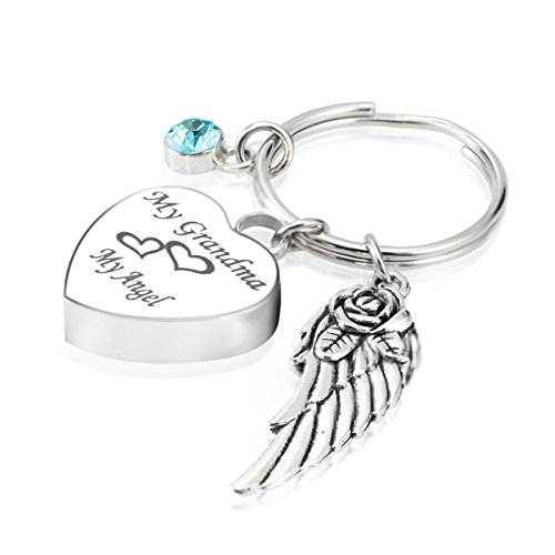 Engraved Personalised My Grandma My Angel Cremation Urn Jewelry Keychain Memorial Ash Keepsake December Turquoise Birthstone Angel Wings Charms (Engraved Turquoise Pendant)