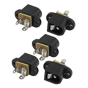 5 piezas de 3 terminales 2.1x5.5mm estéreo zócalo de gato de PCB de montaje en panel para auriculares