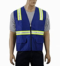 Safety Depot Safety Vest High Visibility Reflective Tape with 4 Lower Pockets, 2 Chest Pockets with Pen Dividers 8038-RB (Royal Blue, XL)