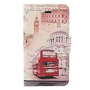 TY-Edificio PU del patrón del caso del cuerpo completo del autobús del vintage y con ranura para tarjeta y el soporte para el iPhone 4/4S